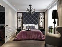 Moderna klassiska Art Deco Bedroom Interior Design stock illustrationer