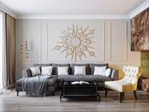 Moderna klassiska beigea Gray Living Room Interior Design Royaltyfria Foton