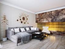 Moderna klassiska beigea Gray Living Room Interior Design Arkivfoton