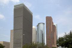 Moderna kontorsbyggnader i i stadens centrum Houston Arkivbilder
