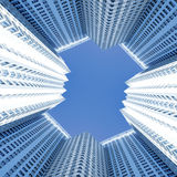 moderna nya skyskrapor för byggnadsaffär Arkivbilder