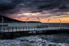 Moderna Pier On Marmara Sea Arkivbilder