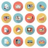 Moderna plana färgsymboler för finans Royaltyfri Fotografi