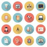 Moderna plana färgsymboler för utbildning Arkivfoton