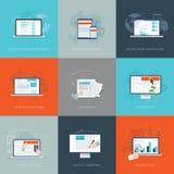 Moderna plana illustrationer för vektor för internetmarknadsföringsaffär ställde in royaltyfri illustrationer