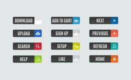 Moderna plana knappar för designwebsitenavigering Royaltyfri Bild