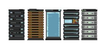 Moderna plana serverkuggar Datorprocessorserveror för serverrum Vektoruppsättning som isoleras på vit bakgrund royaltyfri illustrationer