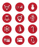 Moderna plana symboler av Santa Claus och juldagen Royaltyfri Foto