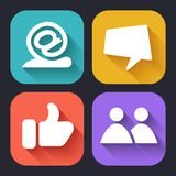 Moderna plana symboler för rengöringsduk- och mobilapplikationer Arkivbild