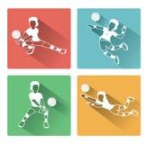 Moderna plana symboler för volleybollkvinnaspelare ställde in med lång skuggaeffekt Royaltyfri Fotografi