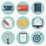 Moderna plana symbolssamling, objekt för rengöringsdukdesign, affär, finans, kontor och marknadsföringsobjekt Royaltyfri Bild