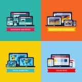 Moderna plana vektorbegrepp av rengöringsdukdesignen, SEO, socialt massmedia fördärvar stock illustrationer