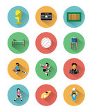 Moderna plana volleybollsymboler ställde in med lång skuggaeffekt Arkivbild