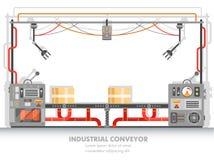 Moderna plant line or factory conveyor belt Stock Photos