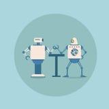 Moderna robotar som spelar teknologi för mekanism för konstgjord intelligens för begrepp för armbrottning futuristisk royaltyfri illustrationer