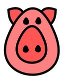 Moderna rosa Piggy Logo Vector Illustration stock illustrationer
