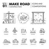Moderna sammansättningar som thin bygger linjen kvarter f för vägkonstruktion royaltyfri illustrationer