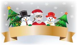 Moderna Santa Claus med snögubben och träd royaltyfri illustrationer