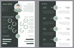 Moderna 2 sid CV-meritförteckningen stock illustrationer