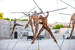 Moderna skulpturer i Antibes Arkivfoton