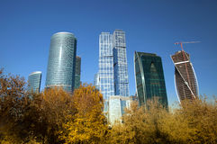 Moderna skyskrapor i hösttid Arkivbild