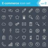 Moderna slog e-kommers symboler som isoleras på mörk bakgrund royaltyfri illustrationer