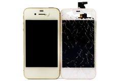 Moderna Smartphone med den brutna skärmen Royaltyfri Bild