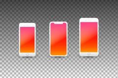Moderna Smartphones med tomma skärmar Högkvalitativ realistisk vektormall Arkivfoto