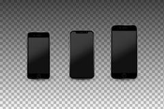 Moderna Smartphones med tomma skärmar Högkvalitativ realistisk vektormall Royaltyfri Foto