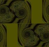 Moderna spiral mönstrar olivgrön gräsplan och mörk brunt Royaltyfri Foto