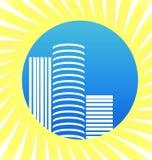 Moderna stad, lägenheter och byggnader, symbolsvektor stock illustrationer