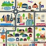 Moderna stadsöversiktsbeståndsdelar för utveckling av din egen infographics, M Arkivbild