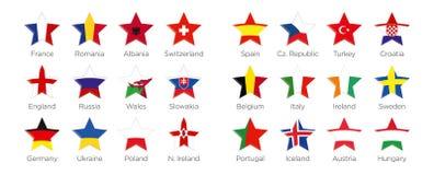 Moderna stjärnor - symboler och symboler av deltagandeländerna till fotbollturneringen 2016 i Frankrike Arkivfoton