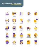 Moderna symboler för materiallägenhetdesign - E-kommers och shopping stock illustrationer