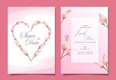 Moderna tulpan som gifta sig design för inbjudankortmall Rosa färgtema med härliga hand-drog vattenfärgblommor royaltyfri illustrationer