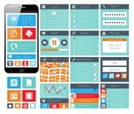 Moderna UI sänker designrengöringsdukbeståndsdelar royaltyfri illustrationer