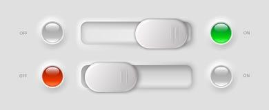 Moderna uibeståndsdelar - strömbrytare och LEDDE ljus Royaltyfri Fotografi