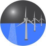 Moderna väderkvarnar i havet också vektor för coreldrawillustration arkivfoton