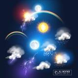 Moderna vädersymboler vektor illustrationer
