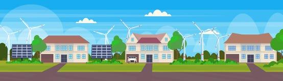 Moderna vänliga hus med landskap för begrepp för alternativ energi för stugor för fastighet för eco för vindturbin och solpanel stock illustrationer