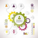 Moderna vektorbeståndsdelar för infographics med kugghjul Royaltyfri Bild