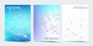 Moderna vektormallar för broschyren, räkning, baner, reklamblad, årsrapport, broschyr Sammansättning för abstrakt konst med stock illustrationer