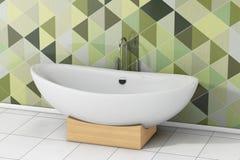 Moderna vita Bathtube framme av Olive Green Geometric Tiles in Royaltyfria Foton