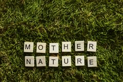 Modernaturen som var skriftlig med träbokstäver, skära i tärningar form på det gröna gräset fotografering för bildbyråer