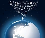 Moderne aarde in een Web Stock Afbeelding