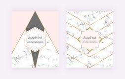 Moderne Abdeckung mit Marmor-, geometrischem Entwurf, goldene Linien, Rosa, graue dreieckige Formen Hintergründe für Einladung, H lizenzfreie abbildung