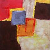 Moderne Abstracte Kunst die - schilderen - Geometrische Vierkanten - Oranje Beige Kleuren Stock Foto's