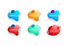 Moderne abstracte vectorbannerreeks Geometrische vloeibare vorm met diverse kleuren Modern vectormalplaatje, Malplaatje voor stock illustratie