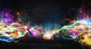 Moderne abstrakte Bewegungsfahne auf dunklem Hintergrund Lizenzfreies Stockbild