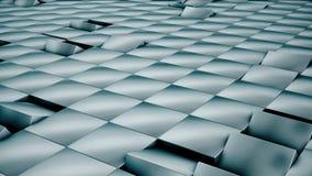 Moderne abstrakte Metallgitteroberfläche drehen Welle von hellen blauen Würfeln lizenzfreie abbildung